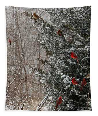 Cardinals In Winter 1 Square Tapestry