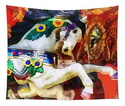 Carousel Horse Closeup Tapestry