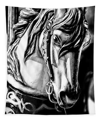Carousel Horse Two - Bw Tapestry