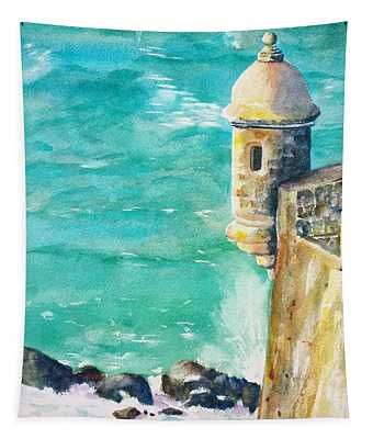 Castillo De San Cristobal Ocean Sentry  Tapestry
