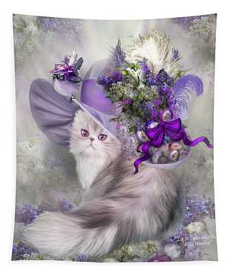 Tapestry featuring the mixed media Cat In Easter Lilac Hat by Carol Cavalaris