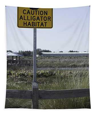Caution Alligator Habitat Tapestry