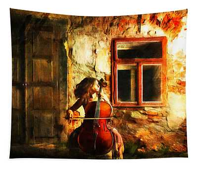Cellist By Night Tapestry