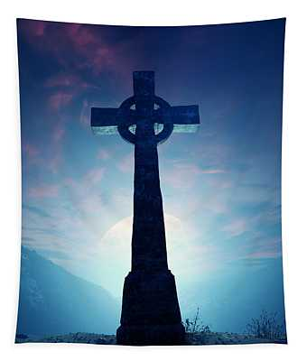 Celtic Cross With Moon Tapestry