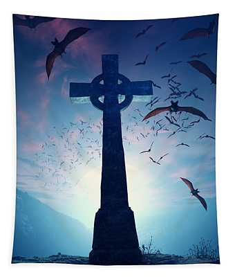 Celtic Cross With Swarm Of Bats Tapestry