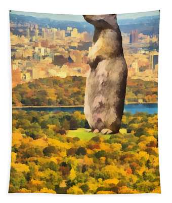 Central Park Squirrel Tapestry