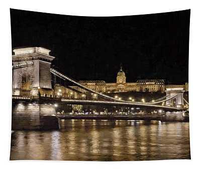 Chain Bridge And Buda Castle Winter Night Painterly Tapestry