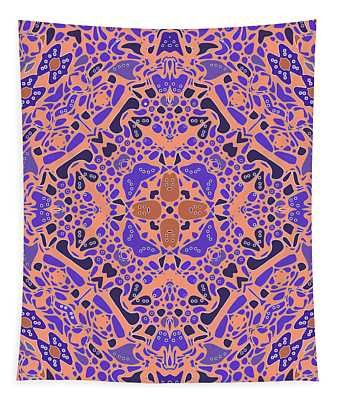Tapestry featuring the digital art Chandra Periwinkle Edges Kaleidoscope by Joy McKenzie