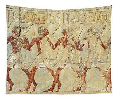 Chapel Of Hathor Hatshepsut Nubian Procession Soldiers - Digital Image -fine Art Print-ancient Egypt Tapestry