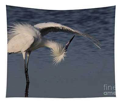 Checking For Leaks - Reddish Egret - White Form Tapestry