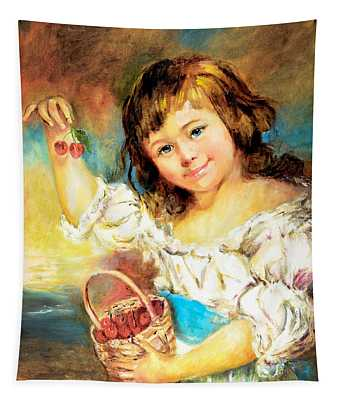 Cherry Basket Girl Tapestry