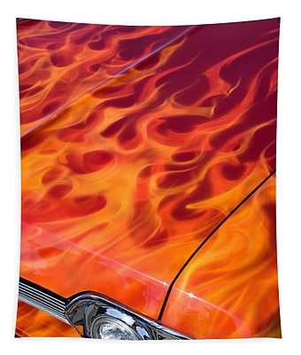Chevy Flames Tapestry by Peter Tellone