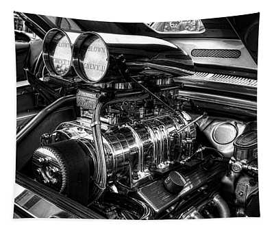 Chevy Supercharger Motor Black And White Tapestry