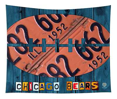 Chicago Bears Football Recycled License Plate Art Tapestry