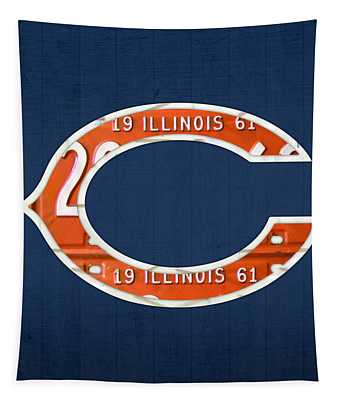 Chicago Bears Football Team Retro Logo Illinois License Plate Art Tapestry