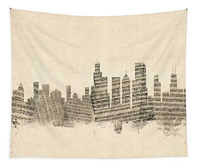 Chicago Illinois Skyline Sheet Music Cityscape Tapestry