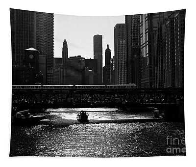 Chicago Morning Commute - Monochrome Tapestry