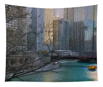 Chicago River Sunset Tapestry