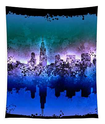 Chicago Skyline Abstract 2 Tapestry