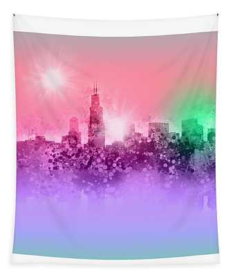Chicago Skyline Abstract 3 Tapestry