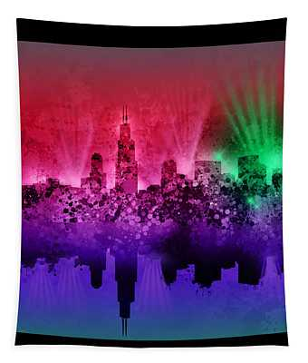 Chicago Skyline Abstract 4 Tapestry