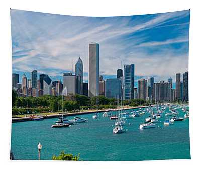 Chicago Skyline Daytime Panoramic Tapestry