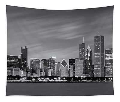 Chicago Skyline At Night Black And White Panoramic Tapestry