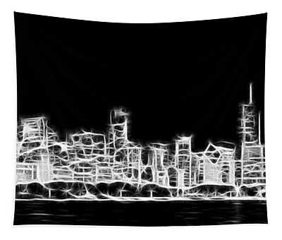 Chicago Skyline Fractal Black And White Tapestry