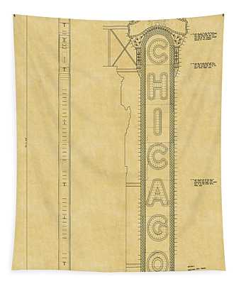 Chicago Theatre Blueprint Tapestry