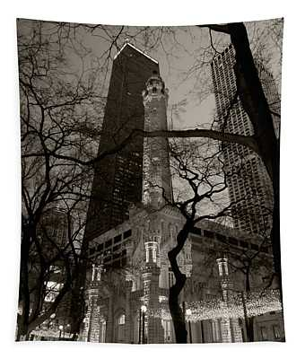 Chicago Water Tower B W Tapestry