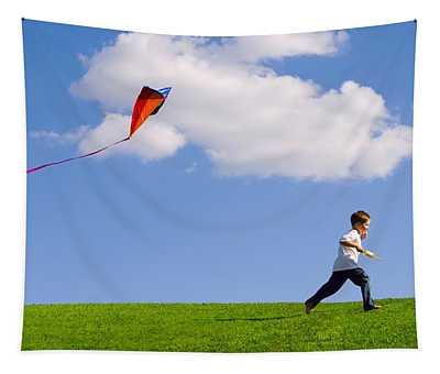 Child Flying A Kite Tapestry
