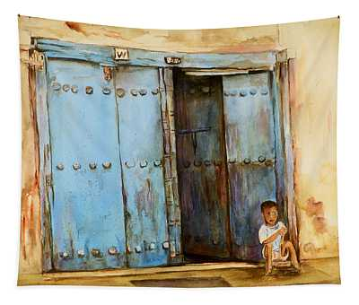 Child Sitting In Old Zanzibar Doorway Tapestry