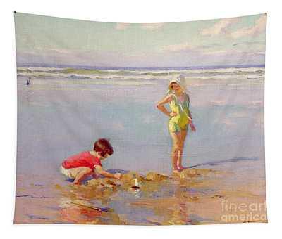 Children On The Beach Tapestry