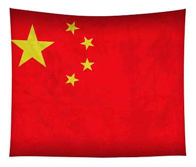 China Flag Vintage Distressed Finish Tapestry