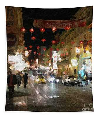 China Town At Night Tapestry