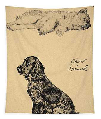 Chow And Spaniel, 1930, Illustrations Tapestry
