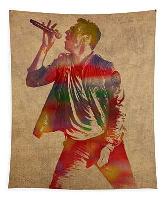 Chris Martin Coldplay Watercolor Portrait On Worn Distressed Canvas Tapestry