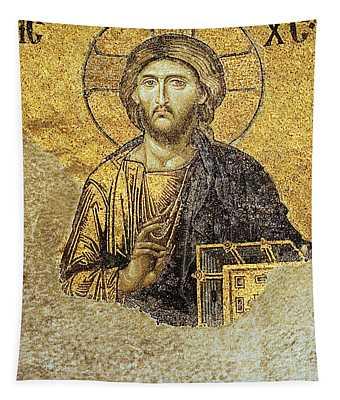 Christ Pantocrator-detail Of Deesis Mosaic Hagia Sophia-judgement Day Tapestry