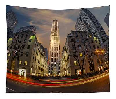 Tapestry featuring the photograph Christmas At Rockefeller Center by Susan Candelario