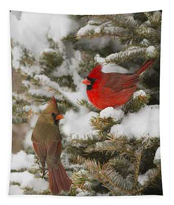 Christmas Card With Cardinals Tapestry