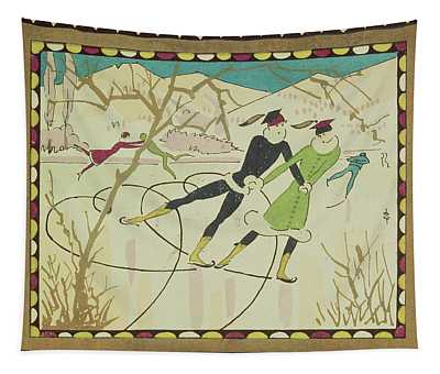 Christmas Card With Figure Skaters Tapestry