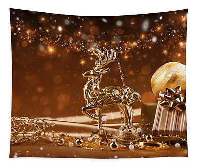 Christmas Reindeer In Gold Tapestry
