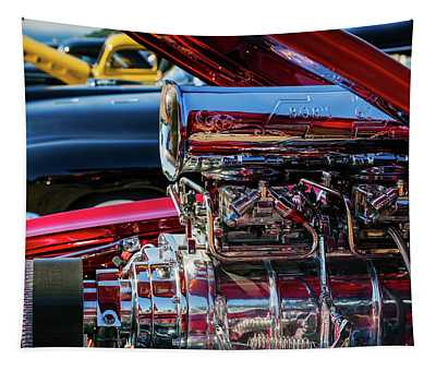Chrome-plated Hot Rod Engine At Antique Tapestry