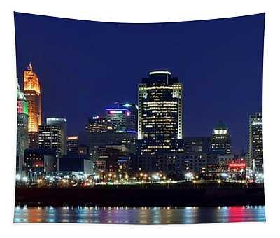 Cincinnati Blue Hour Panorama Tapestry