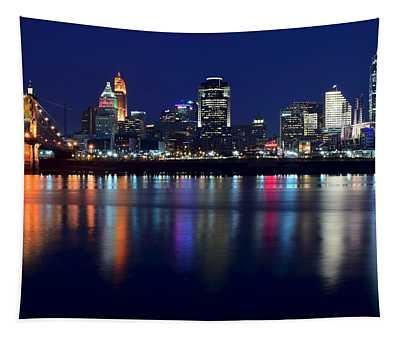 Cincinnati Ohio Blue Hour Tapestry