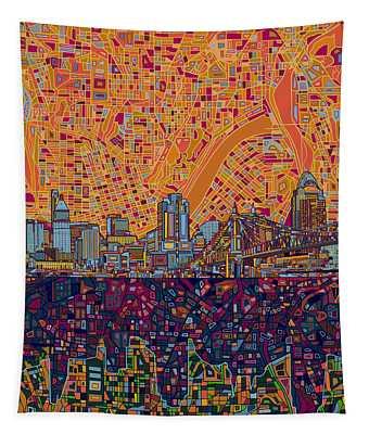 Cincinnati Skyline Abstract 3 Tapestry