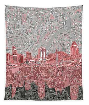 Cincinnati Skyline Abstract 4 Tapestry