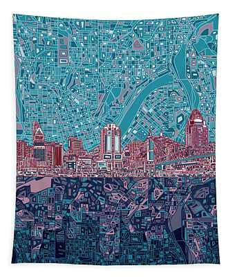 Cincinnati Skyline Abstract 6 Tapestry