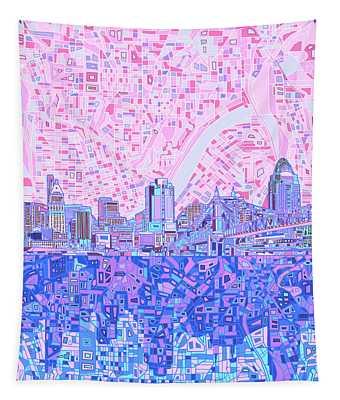 Cincinnati Skyline Abstract Tapestry