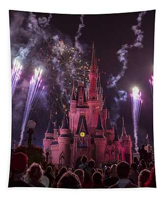 Cinderella's Castle With Fireworks Tapestry